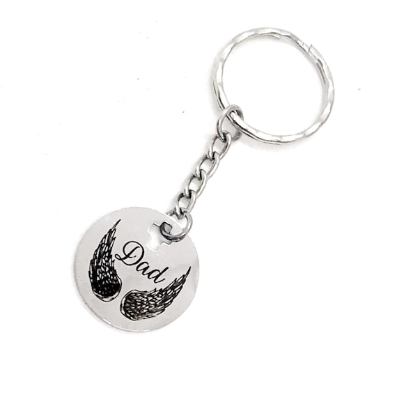 Dad Memorial Gift,  Dad Angel Wings Keychain, Remembering Dad, Dad Is My Angel, Daddy Memories, Dad Keychain, Sympathy Gift, Dad Death