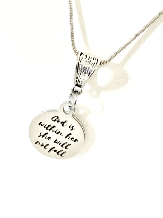 Christian Necklace, God Is Within Her She Will Not Fall Necklace, Psalm 46 5 Necklace, Christian Woman Gift, Gift For Her, Christian Jewelry