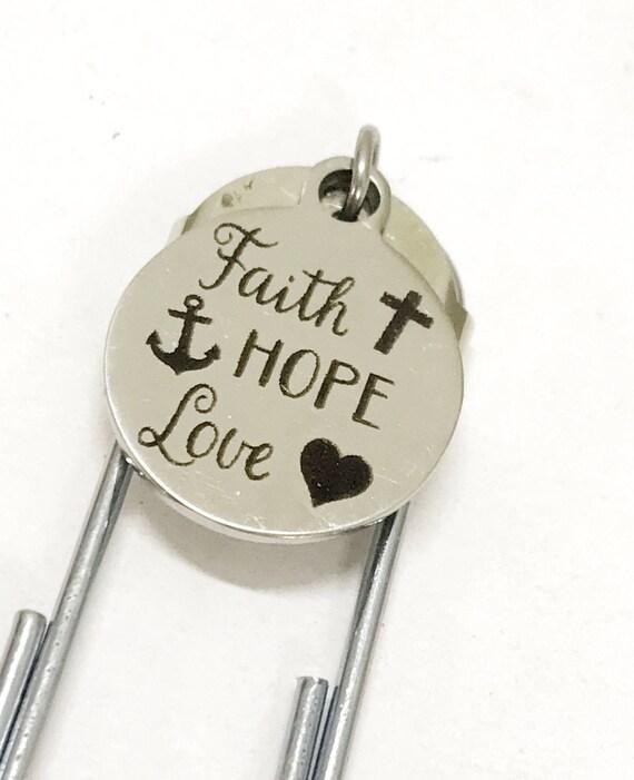 Christian Planner Bookmark, Planner Paper Clip Bookmark, Faith Hope Love Bookmark, Planner Gifts, Christian Gift, Christian Bible Bookmark