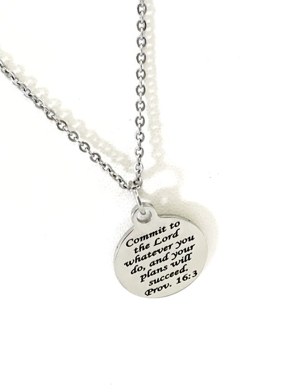 Scripture Jewelry, Commit To The Lord Jewelry, Scripture Necklace, Scripture Charm, Prov 16 3 Necklace, Success Gift, Daughter Jewelry Gift