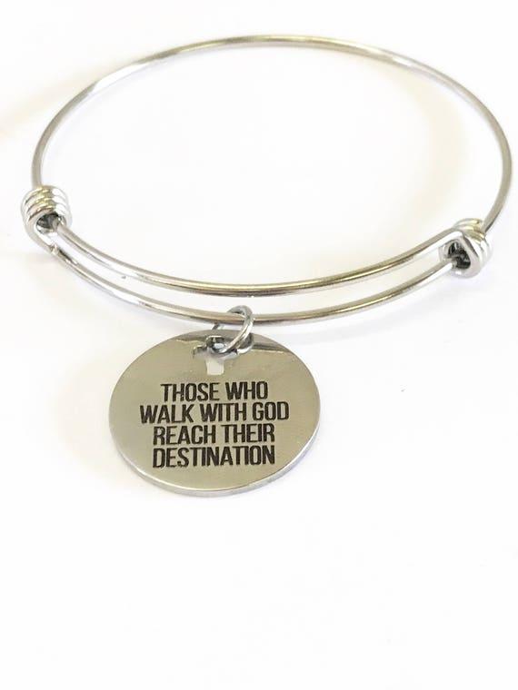 Those Who Walk With God Reach Their Destination Expanding Bangle Bracelet, Christian Encouragement Gift For Her, Spiritual Motivational Gift