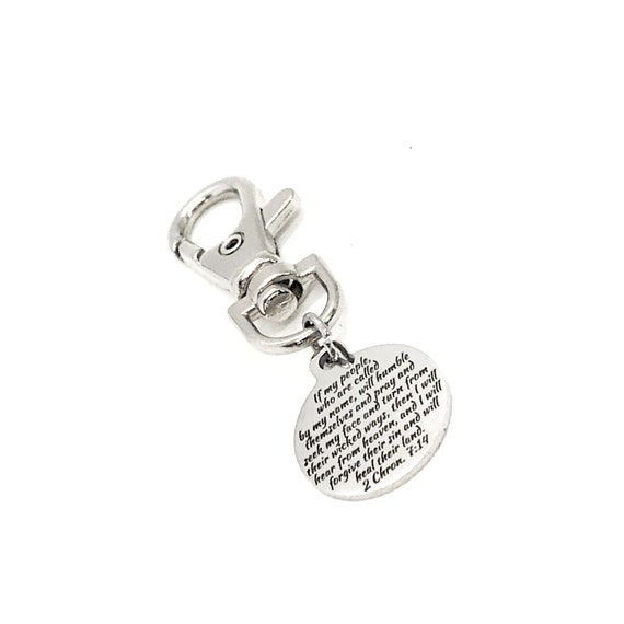 Scripture Charm, If My People Will Pray, I Will Heal Their Land Charm, Keychain Charm, Clip On Charm, Purse Charm, Bag Charm, Keychain Clip
