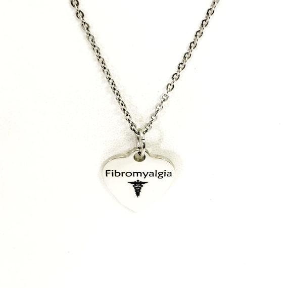 Fibromyalgia  Necklace, Fibromyalgia Medical Necklace, Fibromyalgia  Awareness Engraved Pendant Necklace, Medical ID Jewelry, Caduceus