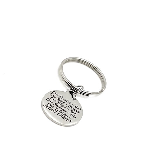 Faith Gift, Jesus Is The Solution Charm Keychain, Faith Quote, Christian Gift, Christian Keychain, Baptism Gift, Salvation Gift