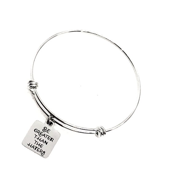 Motivation Gift, Be Grater Than The Haters Bracelet, Charm Bracelet, Affirmation Jewelry, Motivating Jewelry, Entrepreneur Gift