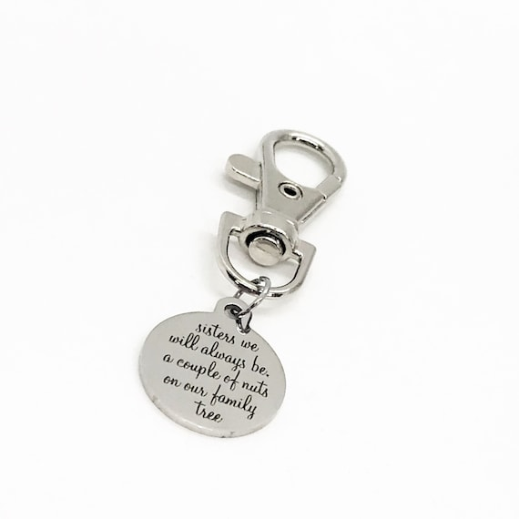 Sister Gift, Sisters We Will Always Be A Couple Of Nuts On Our Family Tree Clip On Charm, Sister Quote, Sister Christmas Gift, Gift For Her