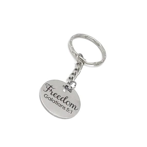 Scripture Gift, Freedom Keychain, Galatians 5 1 Keychain, Scripture Keychain, Freedom In Christ, Recovery Gift, Christian Freedom