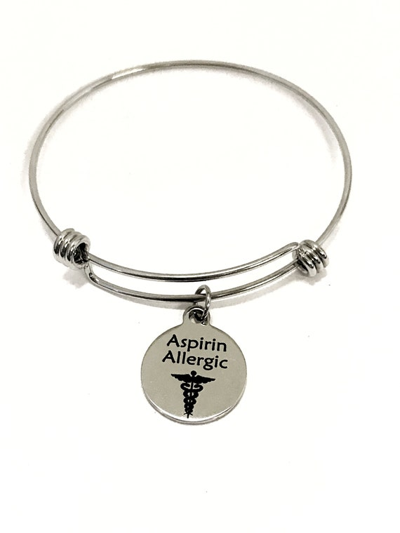 Aspirin Allergic Medical Charm Bracelet, Aspirin Allergic Awareness, Aspirin Allergic Jewelry, Medical Notification, Medical Awareness