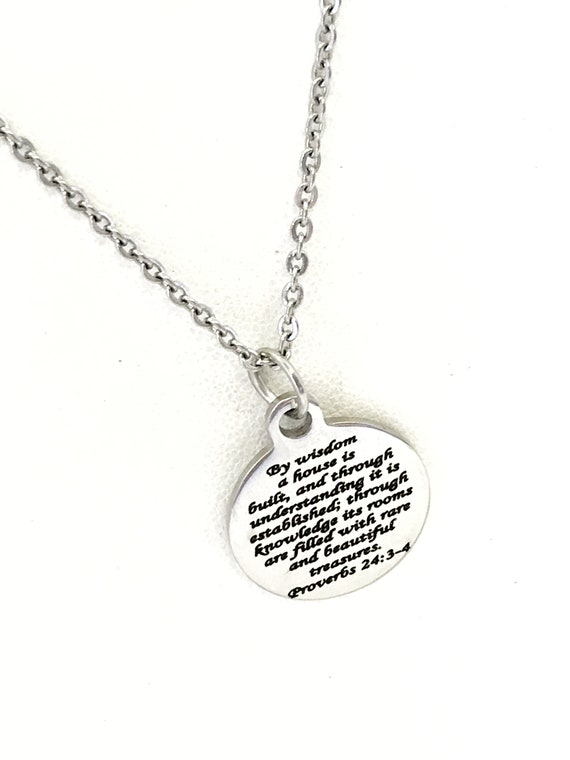 Wedding Jewelry, Christian Wedding Gift, Wedding Necklace, New Marriage Jewelry Gift, Wife Jewelry, By Wisdom A House Is Built Scripture