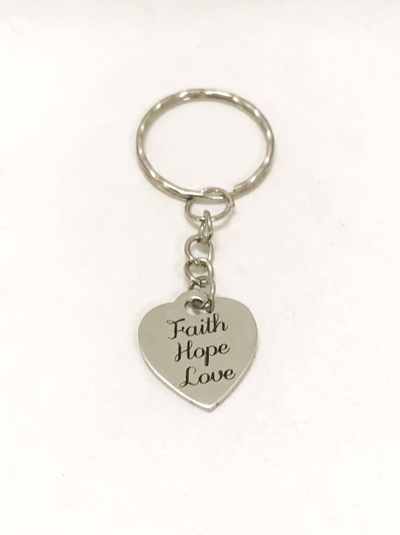 Love Gifts, Faith Hope Love Keychain, Christian Love Gifts, 1 Cor 13 Love Keychain, Christian Valentine Gifts, Faith Hope Love Key Ring Gift
