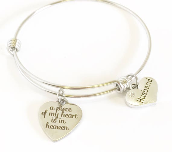A Piece Of My Heart Is In Heaven Expanding Bangle Bracelet, Sympathy Gift for Her, Mourning Loss of Loved One Remembrance Jewelry Gift