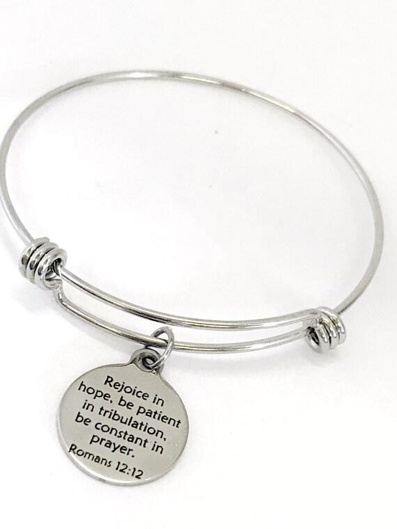 Christian Jewelry, Christian Bracelet, Christian Gift, Scripture Jewelry Rejoice In Hope Bracelet, Daughter Jewelry Gift, Romans 12 12