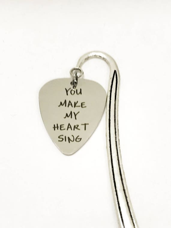 Guitar Pick Gifts, You Make My Heart Sing Bookmark, Guitar Pick Bookmark, Music Love Gifts, Guitar Pick Planner Marker, Song Book Bookmark