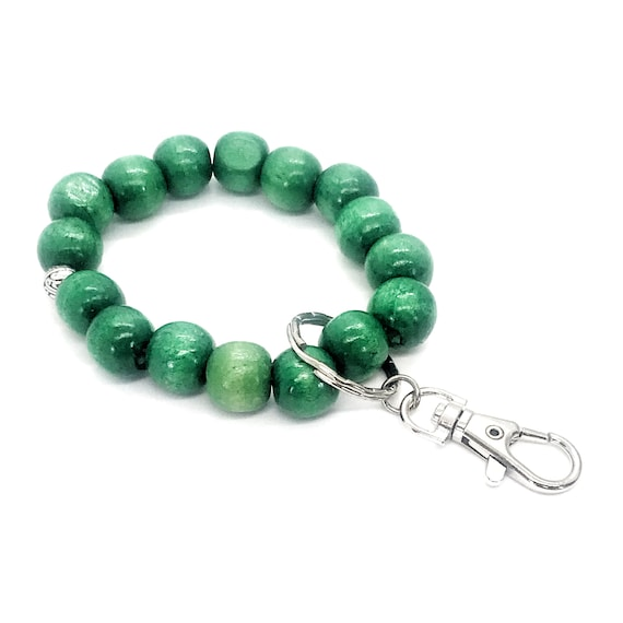 Beaded Keychain Bracelet, Wood Bead Keychain Bracelet, Beaded Bracelet, Green Beaded Keychain, Teacher Gifts, Keychain Gift