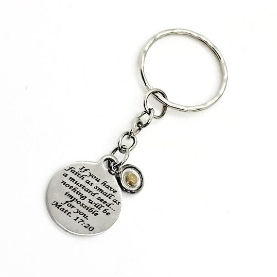 Mustard Seed Keychain, Mustard Seed Faith, Matthew 17 20 Gift, Mustard Seed Gifts, Faith Gifts, Christian Gifts, Scripture Gift