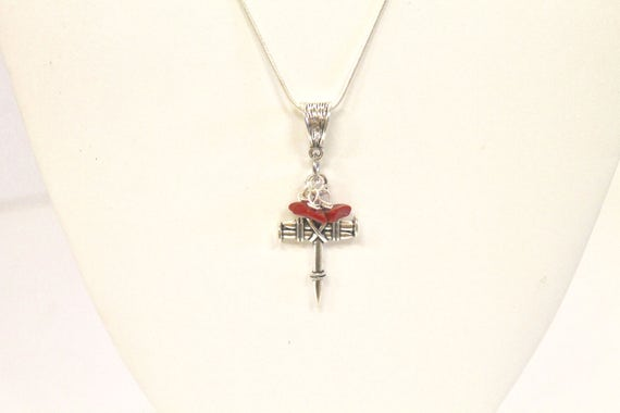 Nail Cross and Blood Red Stone Drop Pendant on Silver Necklace,  Chistian Cross Necklace, Jewelry Gift For Wife, Wife Gift Necklace