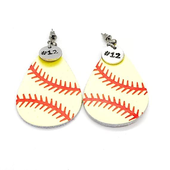 Softball Gifts, Softball Earrings, Softball Mom Gifts, Player Number Earrings, Softball Jewelry, Player Gifts, Softball Team Mom Gifts