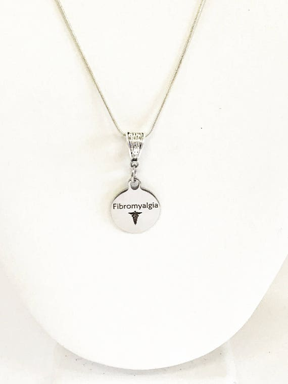 Fibromyalgia Medical Condition Awareness SS Engraved Pendant Necklace, Medical Jewelry Gift For Her, Fibromyalgia Jewelry, Fibromyalgia Gift