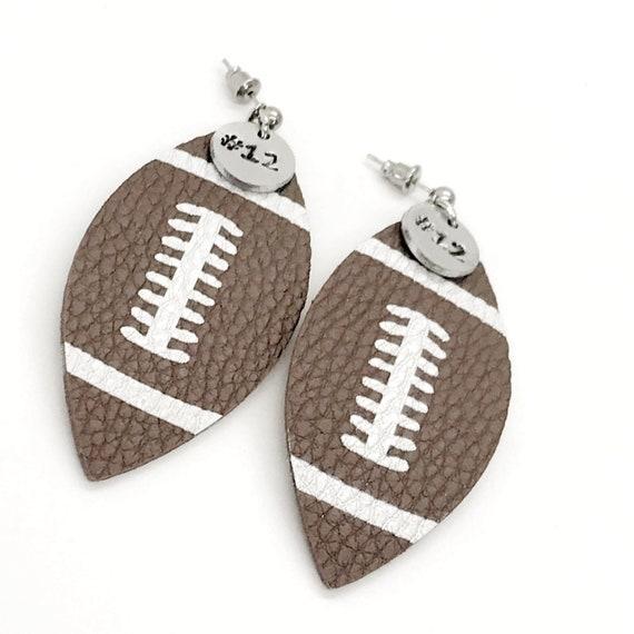 Football Gifts, Football Earrings, Football Mom Gifts, Player Number Earrings, Football Jewelry, Cheerleader Gifts, Football Team Mom Gifts