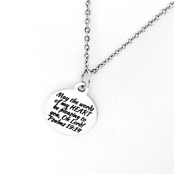 Scripture Gift, May The Words Of My Heart Be Pleasing Necklace, Psalms 19 14, Scripture Quote, Scripture Charm, Christian Gift
