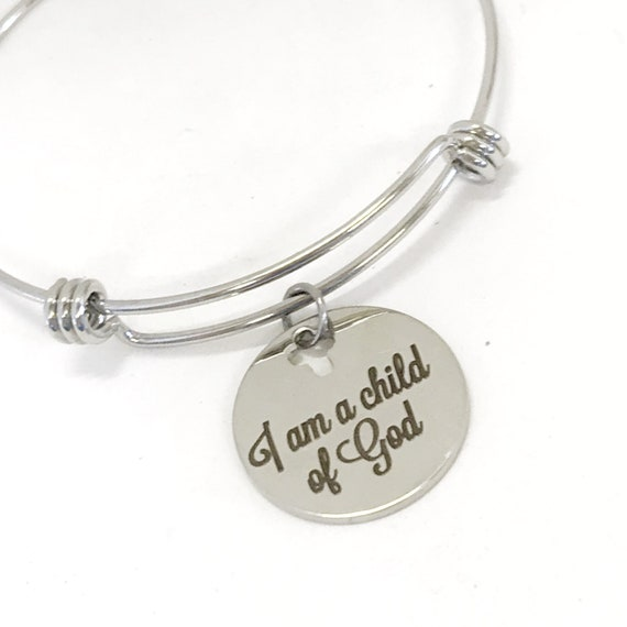 Christian Gift, I Am A Child Of God Bracelet, Daughter Gift Baptism Gift, Christian Jewelry, Christian Stacking Bangle, Salvation Gift