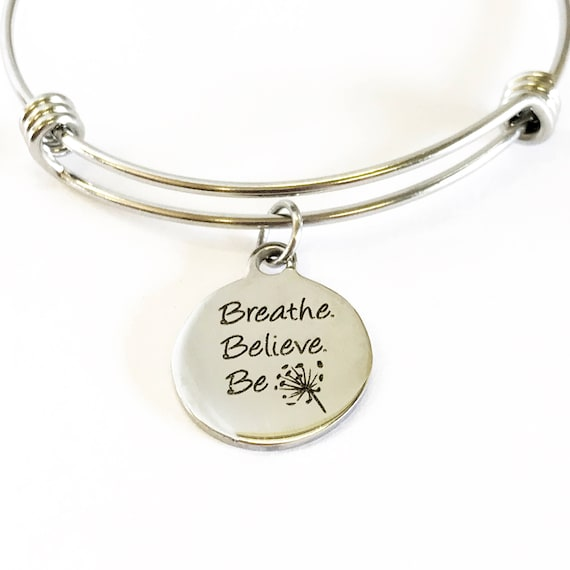 Motivational Jewelry Gift, Breathe Believe Be Bracelet, Stacking Bangle, Expanding Bangle, Charm Bracelet, Spa Day Gift, Encouraging Her