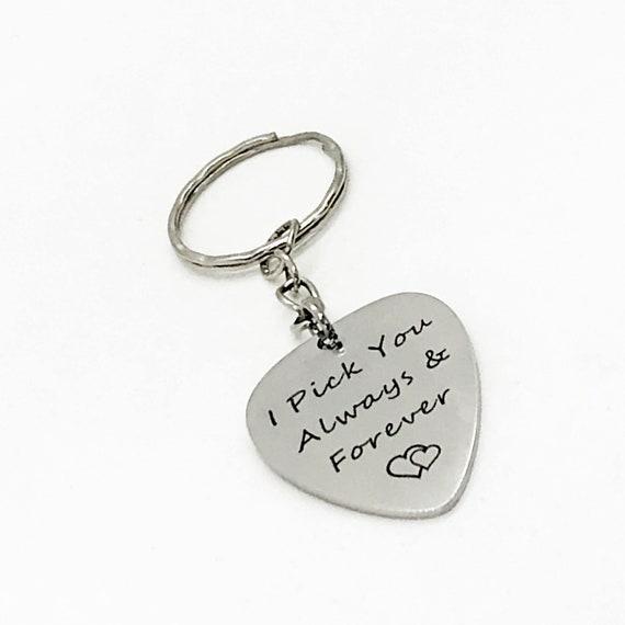Love Gift, I Pick You Always and Forever Keychain, Husband Gift, Wife Gift, Girlfriend Gift, Guitar Pick Keychain, Boyfriend Gift
