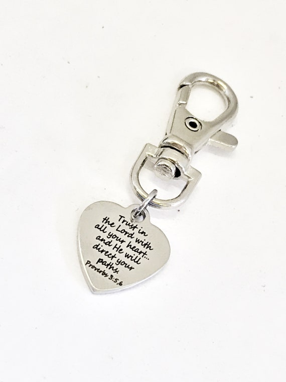 Purse Charm, Christian Charm, Trust In The Lord Charm, Planner Charm, Bag Charm, Bible Verse Bag Tag, Tag Key Charm, Purse Tag, Purse Clip