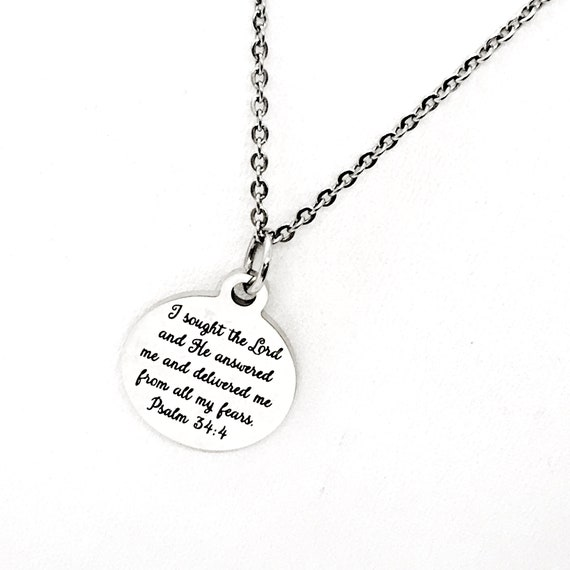 Christian Jewelry, I Sought The Lord Necklace, He Delivered Me From My Fears, Christian Gift, Jewelry Gift, Christian Verse, Psalm 34 4