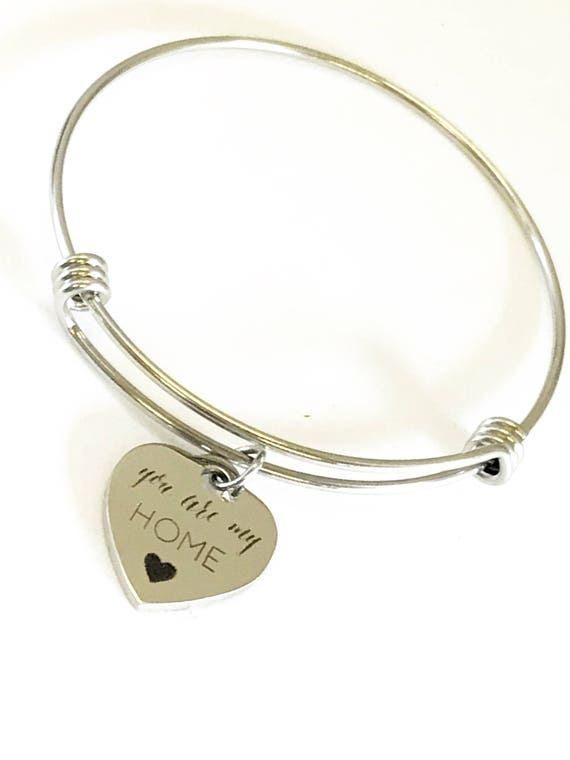 You Are My Home Bangle, Mom Gift, Wife Gift, Love Jewelry, You Are My Home, Stacking Bangle, Expanding Bangle, Heart Charm Bracelet Gift