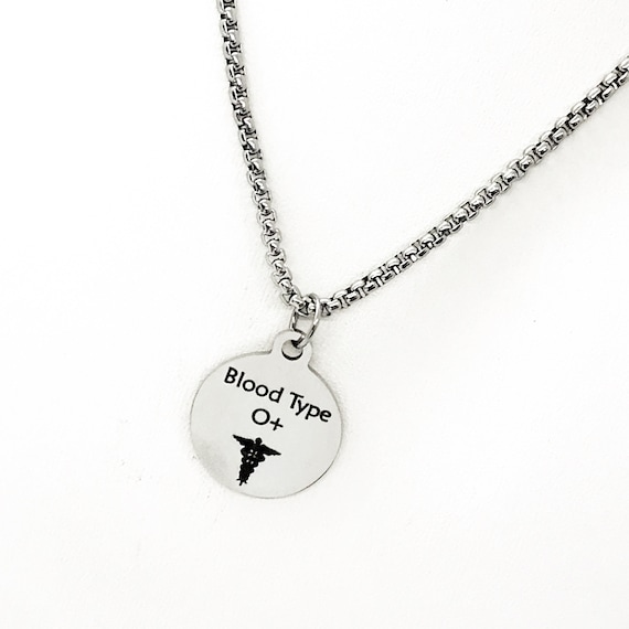 Blood Type Necklace, Blood Type Jewelry, Medical Notification, Medical Notification, Medicine Allergy, Blood Type Charm