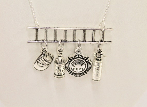 Fireman Ladder Charm Pendant on Silver Chain Necklace, Gift For Her, Fireman Wife, Fireman Mom, Gift For Mom, Valentines Day Gift