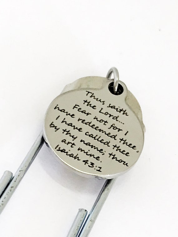 Paperclip Bookmark, Planner Page Clip, We Are Redeemed Charm, Isaiah 43 1 Christian Gift, Scripture Gifts, Bible Verse Journaling Gifts
