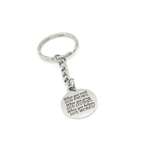 Christian Gift, Christian Keychain, God Knows, God Listens, God Works Keychain, Faith Charm, Christian Charm, Religious Gift
