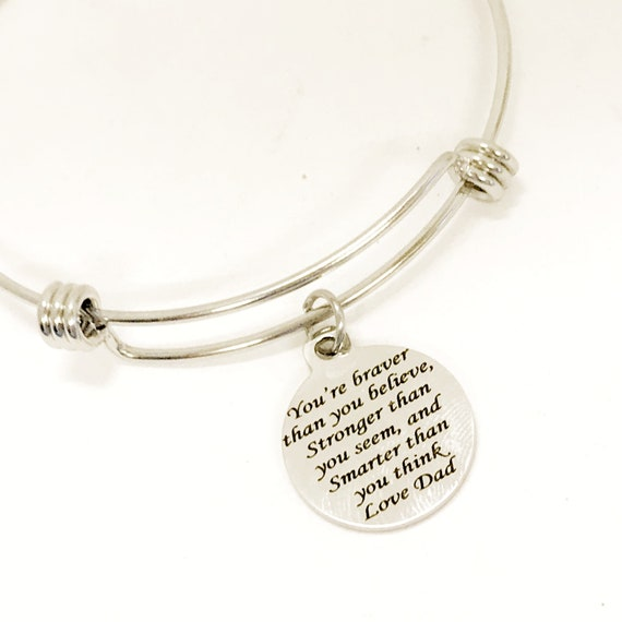 Daughter Gift, Braver Stronger Smarter Bracelet, Daughter Bracelet, Bracelet Gift, To Daughter From Dad, Love Dad, Gift For Daughter