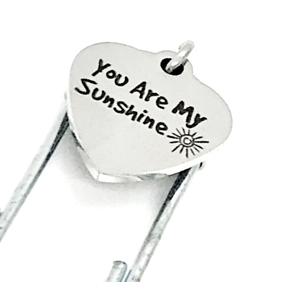Bookmark Gift, You Are My Sunshine Bookmark, Charm Bookmark, Paperclip Bookmark, Planner Bookmark, Daughter Gift, Love Gift, Wife Gift