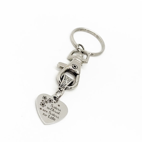 Christian Gift, Sisters In Christ Are Sisters For Life Keychain, Christian Woman Keychain, Bible Study Group, Faith Gift, C309