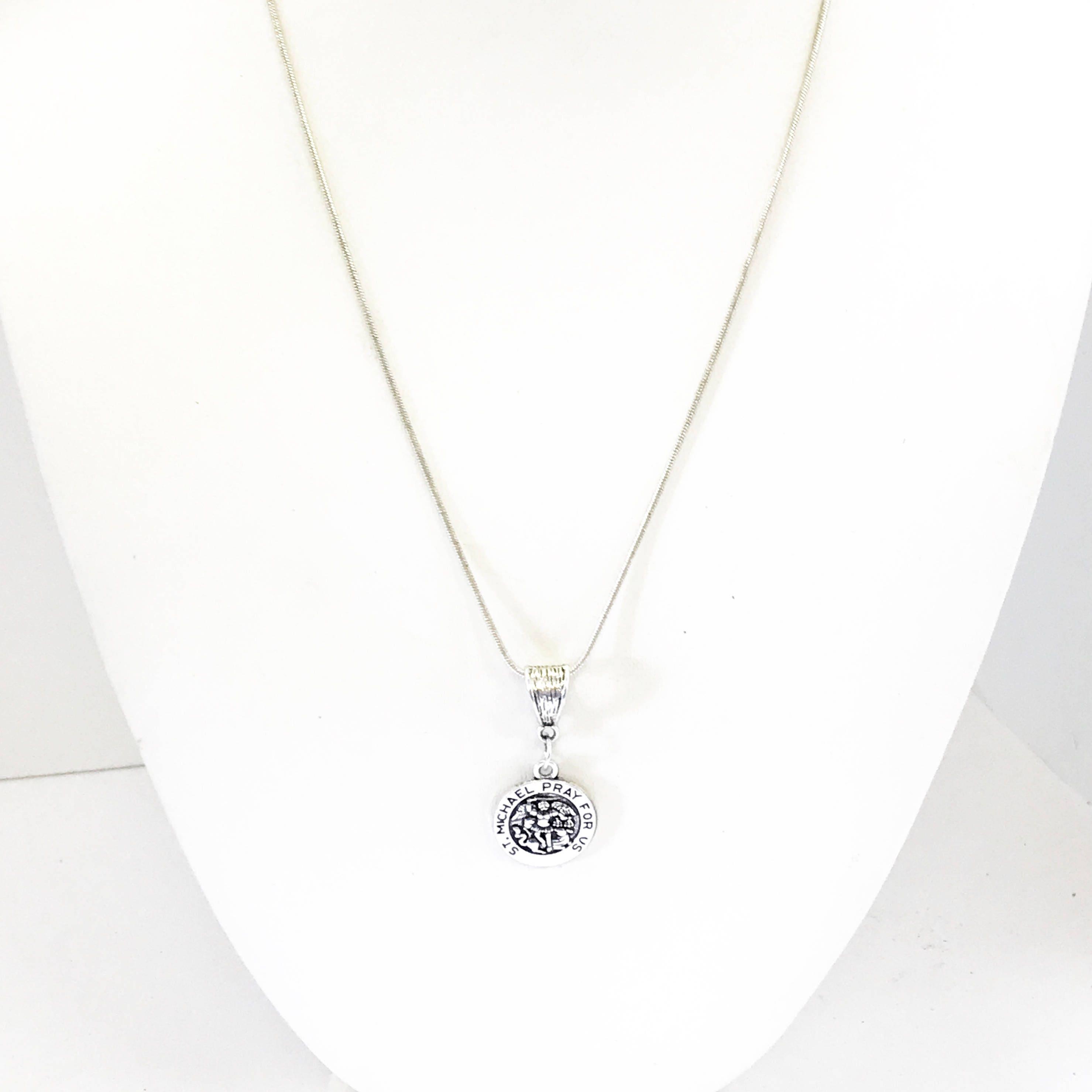 St  Michael Silver Necklace, St Michael Pendant, Patron Saint Jewelry