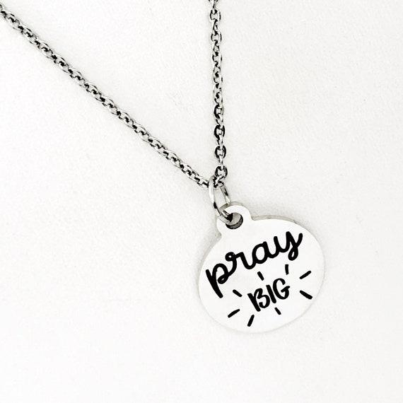 Faith Gift, Pray Big Charm, Faith Jewelry, Faith Necklace, Christian Jewelry, Christian Gifts, Sunday School Gifts, Prayer Circle Gifts
