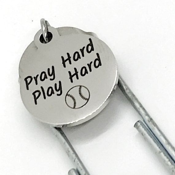 Bookmark Gift, Pray Hard Play Hard Bookmark, Christian Baseball Player Gift, Student Athlete Gift, Baseball Charm Bookmark, Team Gifts