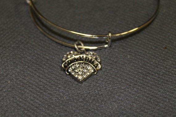 Grandma Heart Clear Crystal Charm Expanding Bangle Bracelet