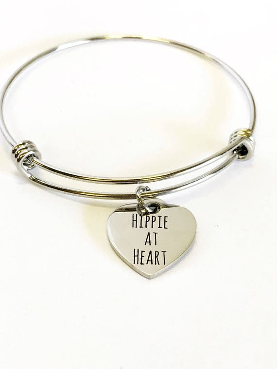 Hippie Jewelry, Hippie At Heart Bracelet, Hippie Gift For Her, Stacking Jewelry Bangle, Hippie Jewelry Gift, Hippie Valentine Gift