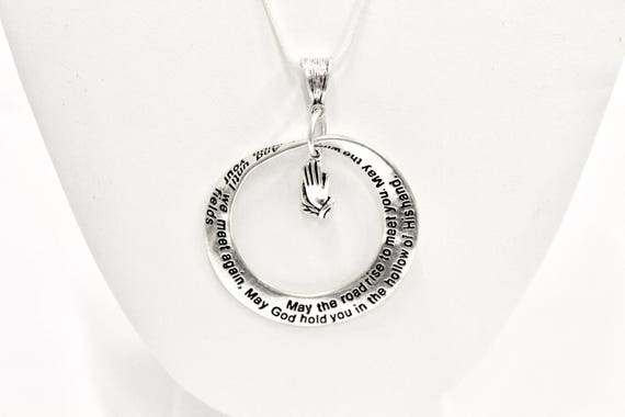 Blessing Necklace, May The Road Rise To Meet You, Going Away Gift, Until We Meet Again, Girlfriend Gift, Graduation Gift, Moving Prayer