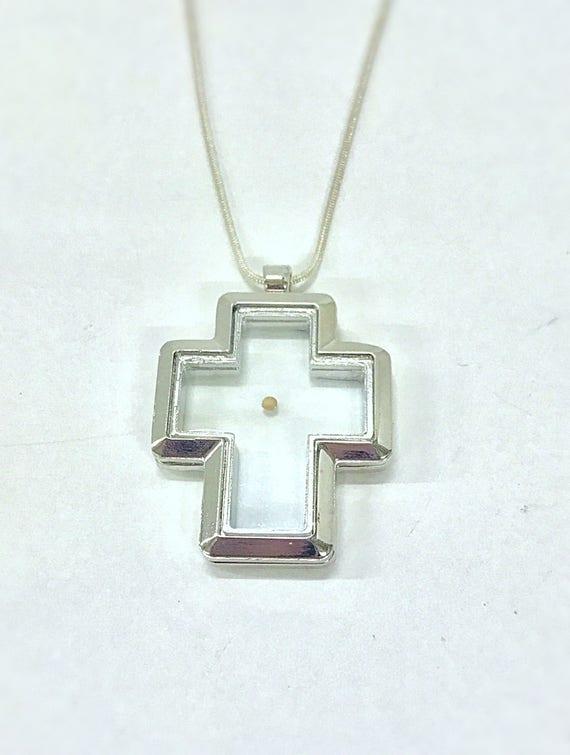 Mustard Seed Necklace, Cross Floating Charm Pendant on Silver Chain, Luke 17:6 Bible Verse Jewelry, Motivational Graduation Gift