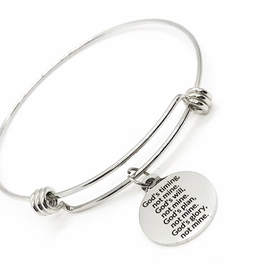 Faith Gift, God's Timing, God's Will, God's Plan, God's Glory, Not Mine Bracelet,  Faith Quote, Christian Gift, Christian Jewelry