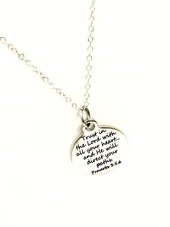 Christian Jewelry, Trust In The Lord With All Your Heart Necklace, Proverbs 3 5 and 6 Scripture Jewelry, Christian Gift, Bible Verse Jewelry