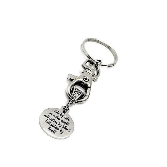 Best Friend Gift, Side By Side Or Miles Apart, Not Sisters By Blood But Sisters By Heart Keychain, Best Friend Keychain, Sister In Law Gift