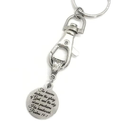 Christian Gift, Christian Keychain, Glory Of God Keychain, Psalm 19 1 Keychain, Bible Verse Gift, Scripture Gift, Christian Verse