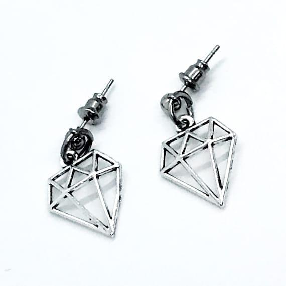Diamond Earrings, Diamond Charm Earrings, Silvertone Diamond Charms, Dangle Earrings, Direct Sales Team Gifts, Motivating Earrings