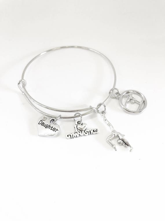 Gymnastics Expanding Bangle Charm Bracelet, Gymnastics Mom, Gymnastics Jewelry Gift For Her, Gymnast Graduation Gift, Gymnast Award Jewelry